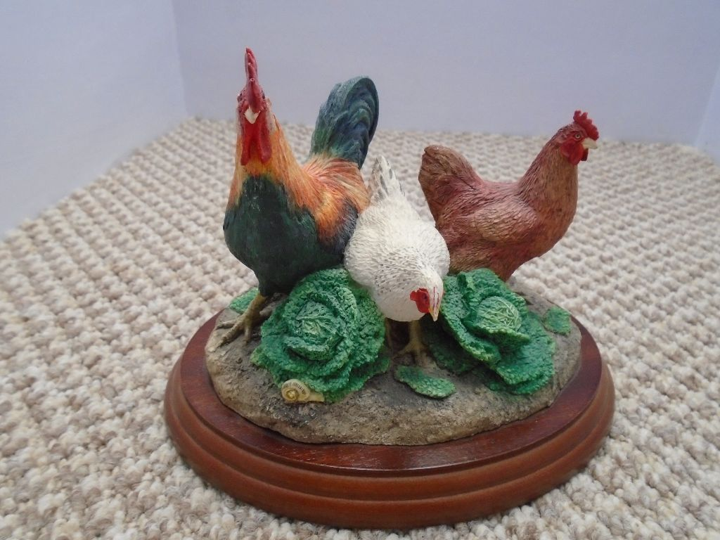 "Border Fine Arts"" Lunch at the Savoy"" Chickens / Hens Made in Scotland"