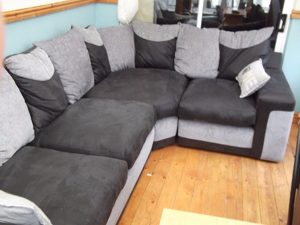l shape sofa & swivel cuddle chair foot rest