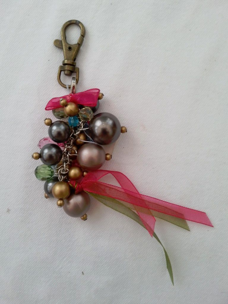 Hand Bag Charm with Beads and Ribbons. Brand New.