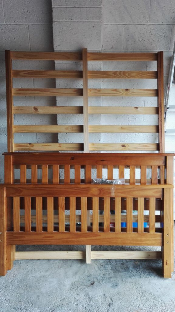 """Pine standard 4'6"""" double bed. Good condition"""