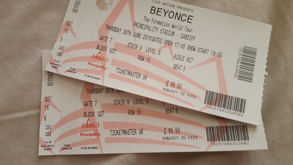 Beyonce Formation Tour - 2 x Cardiff Tickets - Excellent Seats - Be Quick!