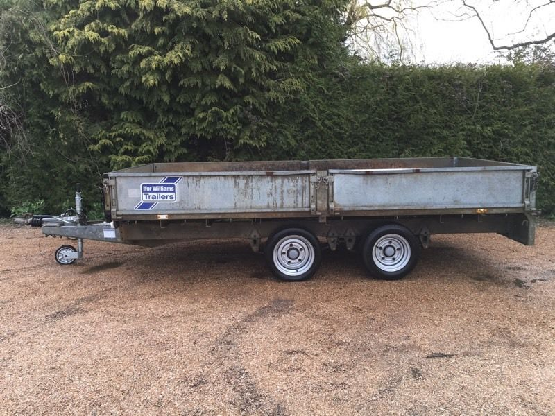 IFOR WILLIAMS LM125 FLATBED TRAILER 12ft X 5.5ft - TWIN AXLE DROPSIDES