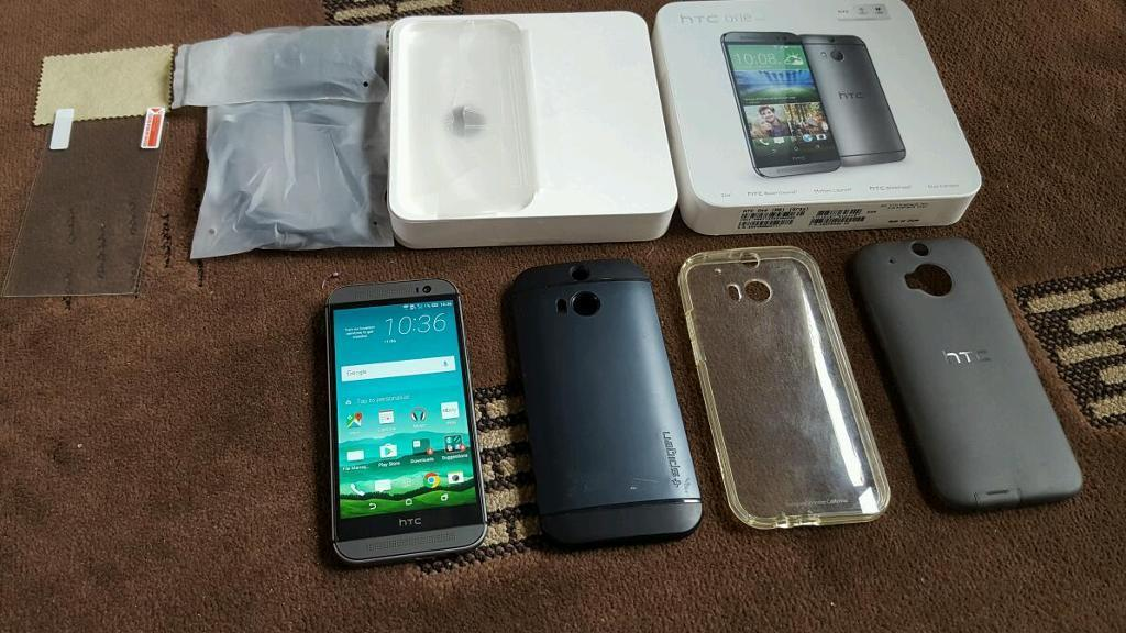 Unlocked HTC One M8 grey boxed with accessories and spigen cases