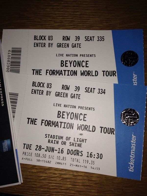 2 Beyonce tickets