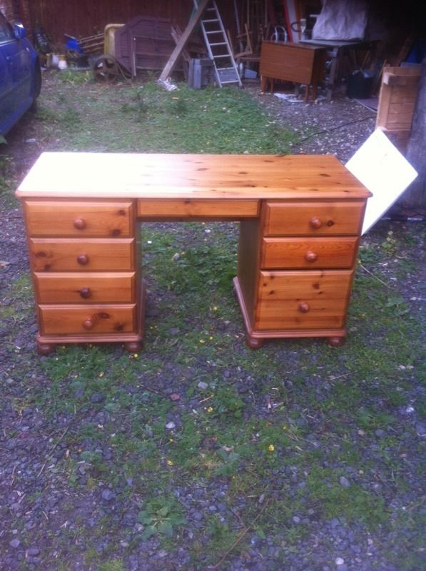 Solid pine desk with built in filing cabinet