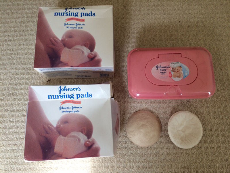 Johnson's nursing pads and baby wipes