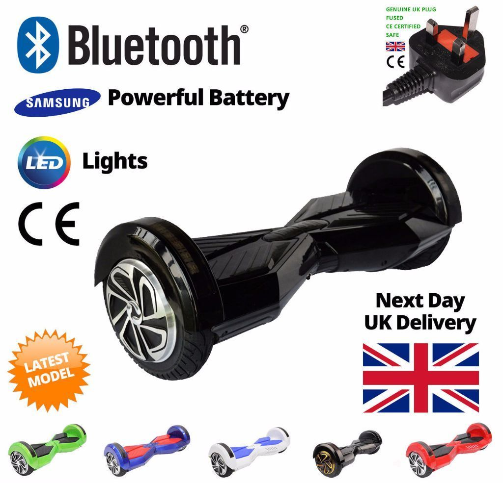 """BLACK HOVERBOARD SEGWAY * FREE DELIVERY * LATEST MODEL * 8"""" 2 WHEEL BALANCE BOARD ELECTRIC SCOOTER"""