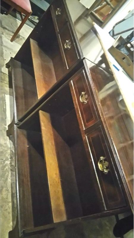 2 vintage bookcases with drawers