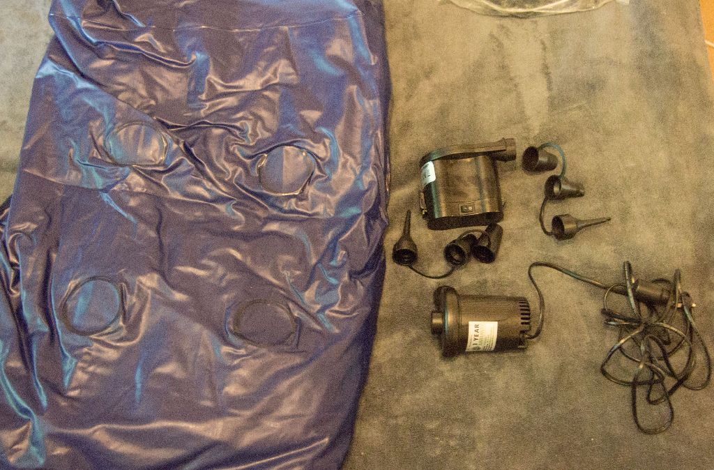 Camping bundle. Double airbed with two air pumps. one battery powered one car powered