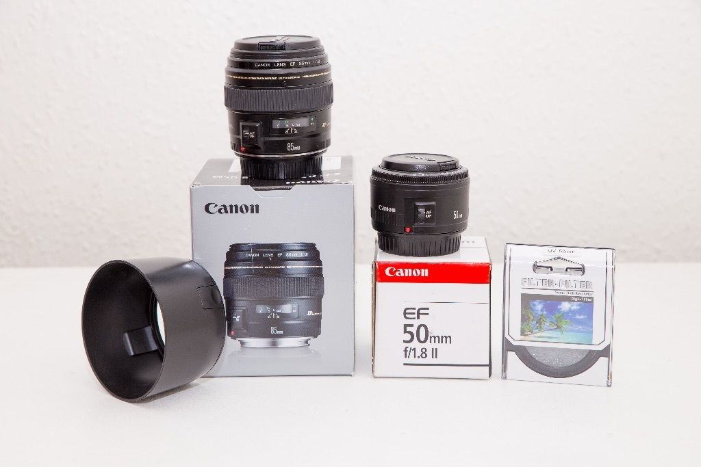 CANON 85mm 1.8 WITH HOOD + CANON 50mm 1.8 WITH DENSITY FILTER ****CHEAPEST BEST DEAL*****