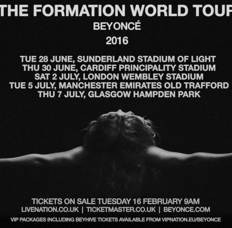 Beyonce Formation tour 2nd July WEMBLEY