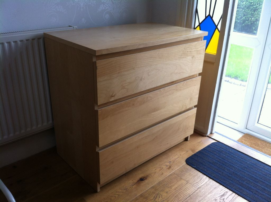 IKEA MALM bedroom chest of 3 drawers