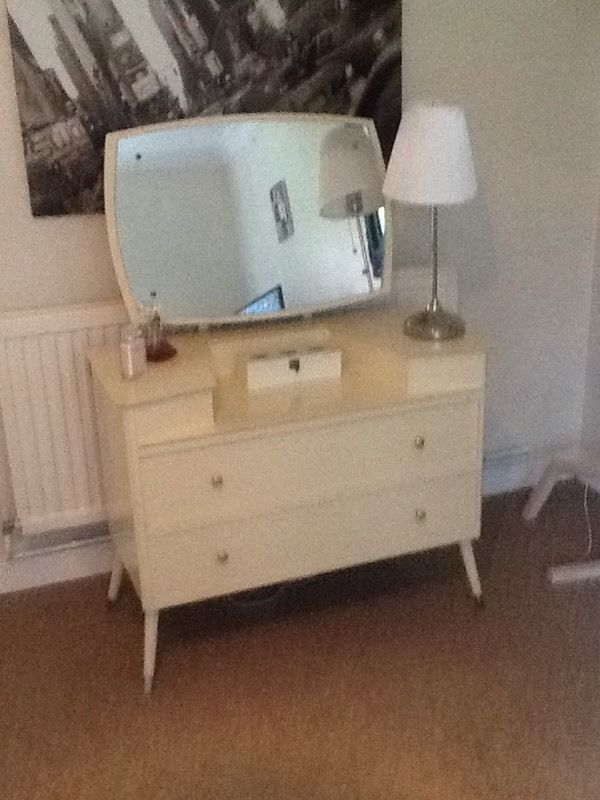VINTAGE RARE DRESSING TABLE WITH LARGE ADJUSTABLE TILTING MIRROR AND RWO DRAWERS
