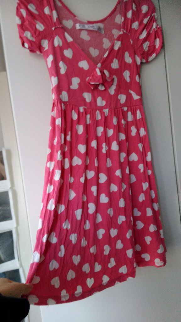Zara pink heart jersey ruched capped short sleeve sleeve dress, size M