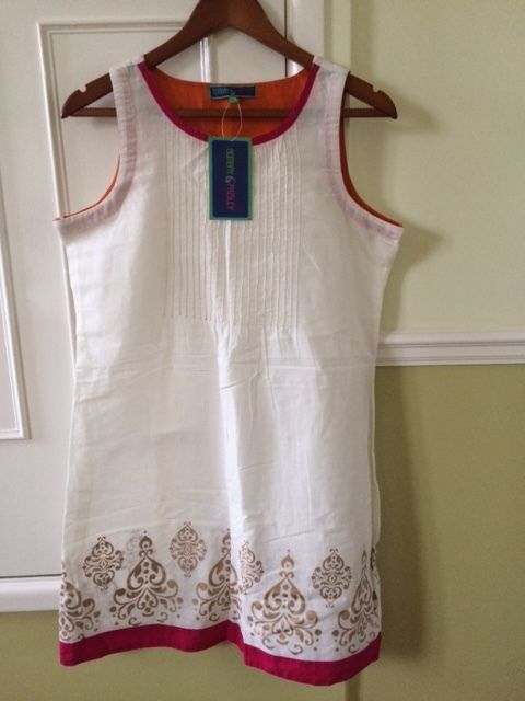 Ladies Cream Tunic Style Dress with pattern BRAND NEW WITH LABELS (Size M / 12-14)