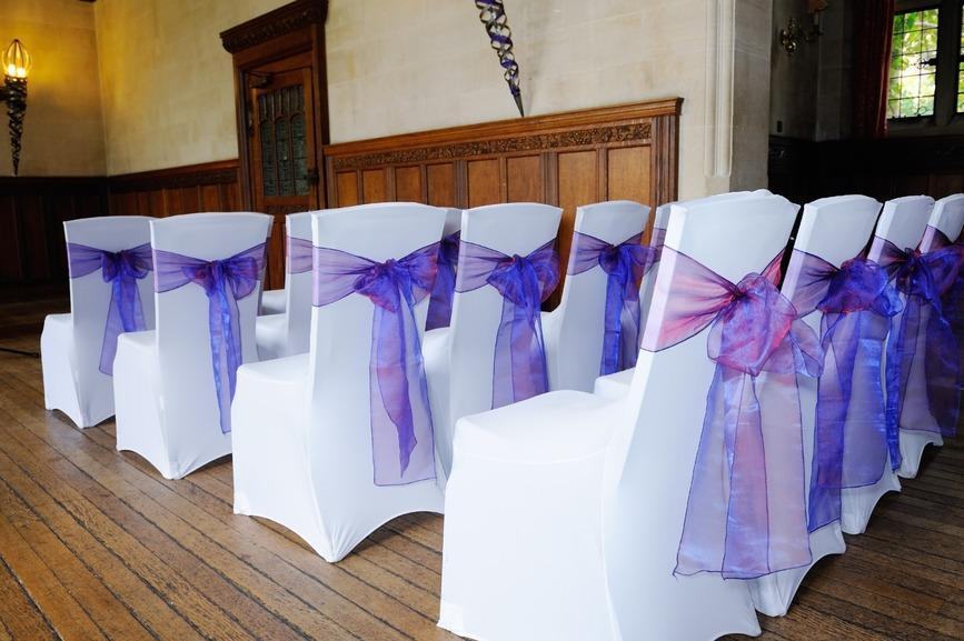 WEDDING LYCRA 40P CHAIR COVER SEAT COVER HIRE & TABLE CLOTH HIRE **Nationwide Delivery**