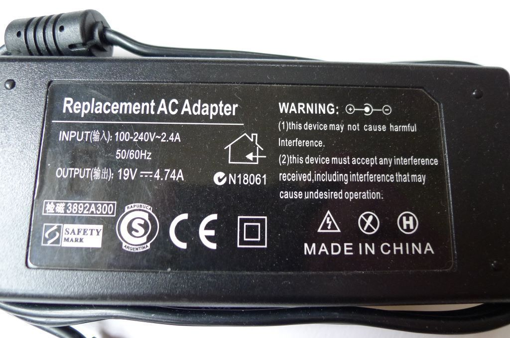 LAPTOP AC ADAPTER 19V 4.74A 90W MAINS CHARGER POWER SUPPLY