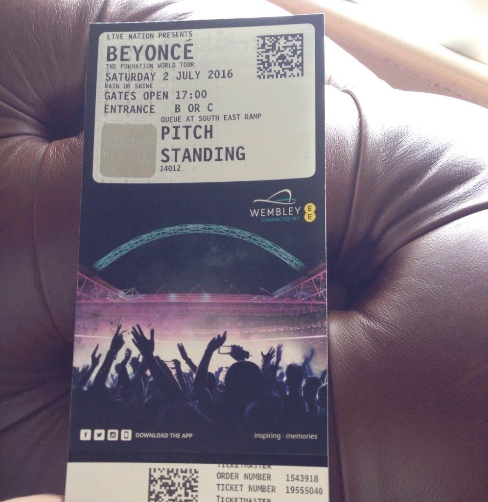BEYONCÉ FORMATION WORLD TOUR WEMBERLEY X1 STANDING TICKET