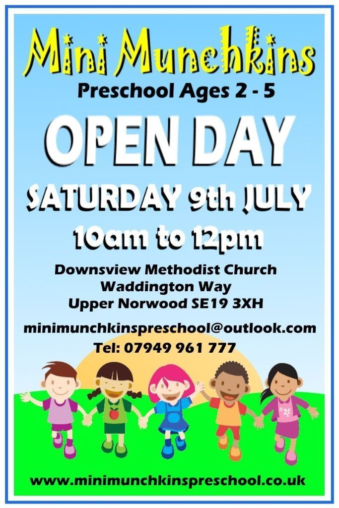 Mini Munchkins preschool open day. Saturday 9th July 10am to 12pm