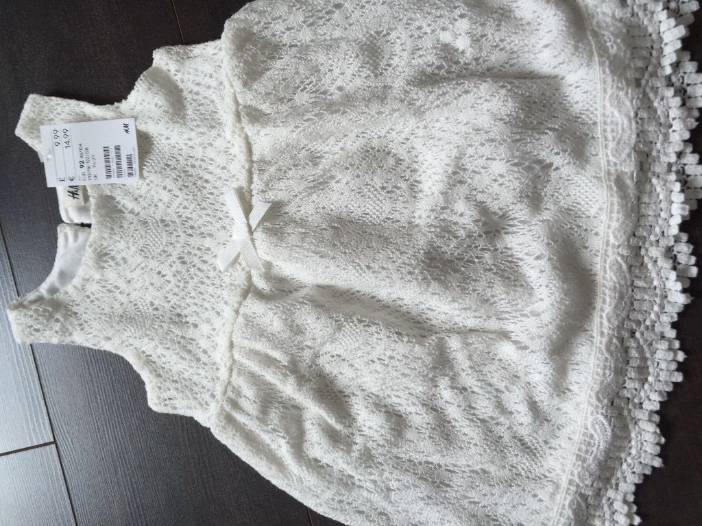 X 2 brand new H&M girls ivory crochet dress