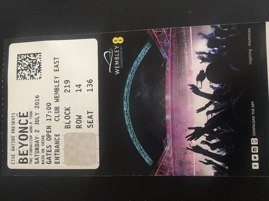 ***BEYONCE FORMATION SATURDAY 2ND JULY 2016 WEMBLEY SEATED X 3 TICKETS***