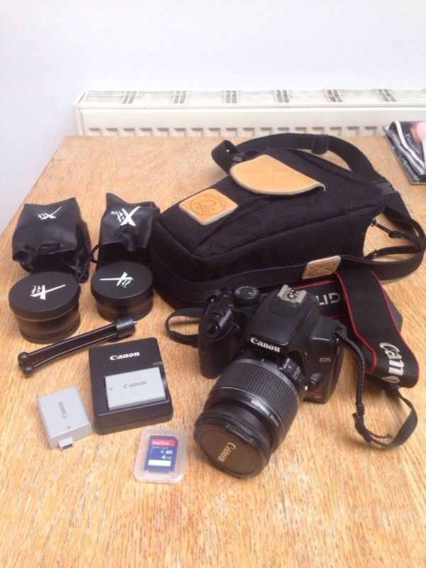 Canon Rebel XS body, lens and extras