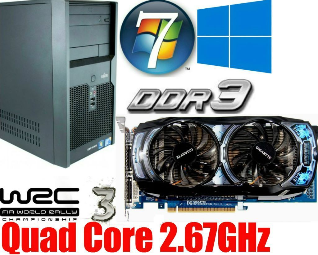 Gaming PC, Intel QUAD CORE 2.67GHz, GTS450oc Gddr5 , 4GB Ram, 320GB HD