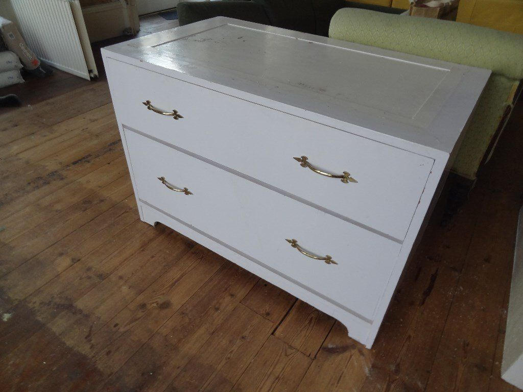 Deep two Drawers Chest Brass Handles Solid