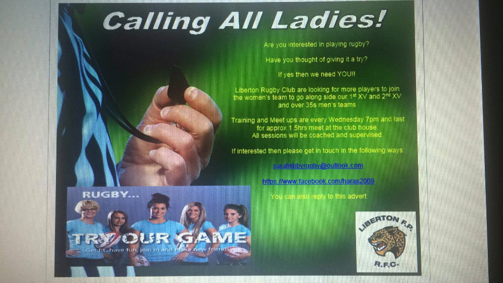Looking for females wanting to give Rugby a try.....