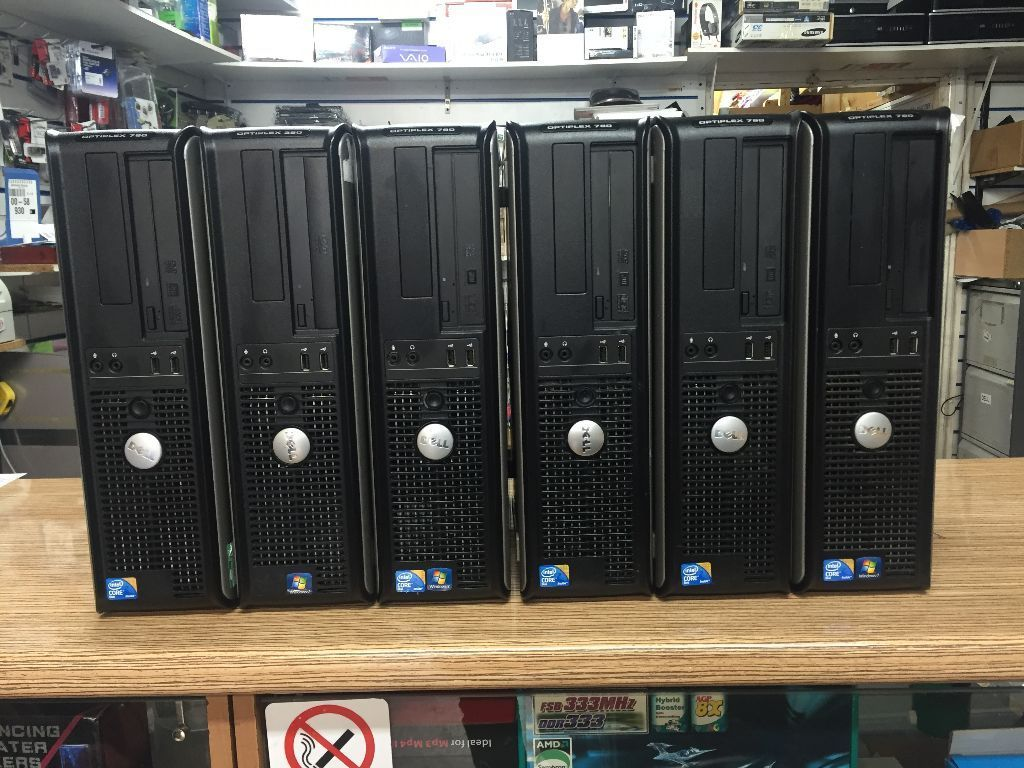 JOB LOT OF 6 Dell Optiplex 780 Core2Duo 2.93GHz 4GB RAM 160GB - 320GB HDD PC
