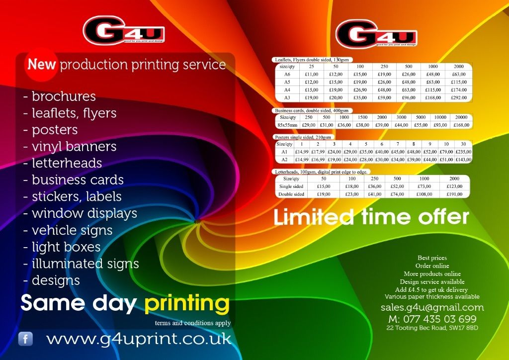 Labels, stickers printing, leaflets same day, vehicle signs, posters, illuminated signs, video signs