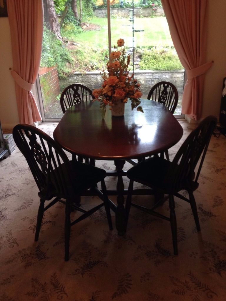 DROP LEAF OVAL DINING TABLE AND CHAIRS