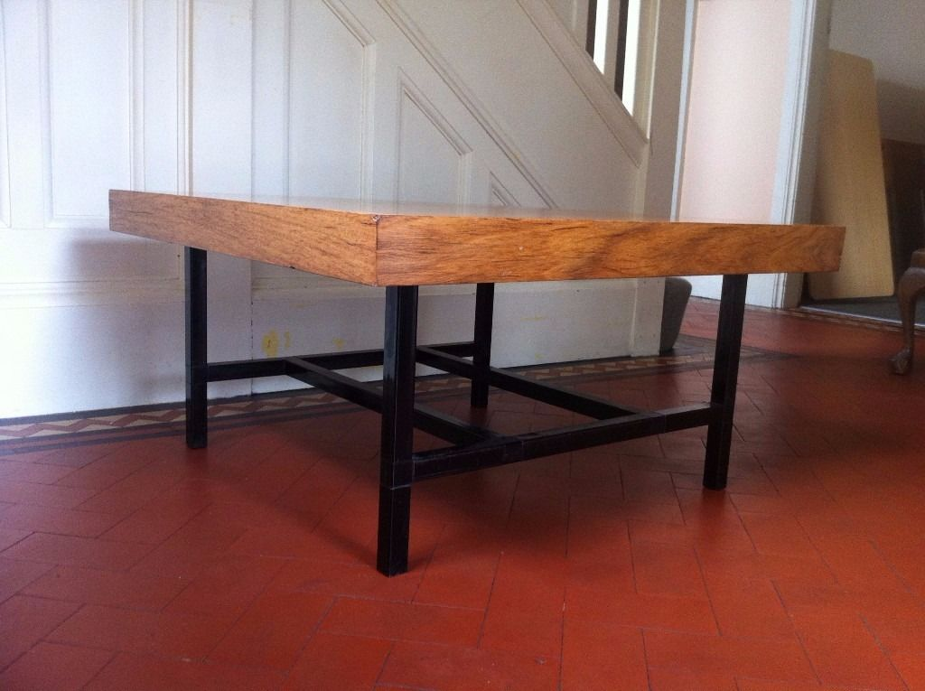 Vintage Midcentury Industrial Style Metal & Wood Coffee Table / Can Deliver