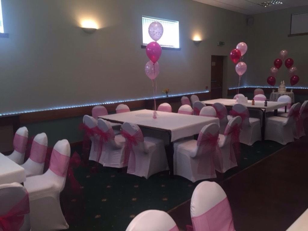 White chair covers 50 p hire bows all colours 50 p set up free weddings birthday engagements ect