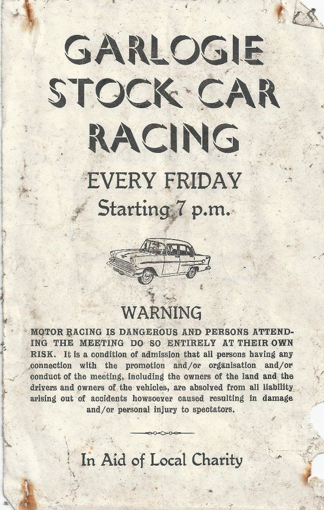 NOSTALGIC ORIGINAL GARLOGIE STOCK CAR RACING (1960's) COLLECTABLE PROGRAMME COVER