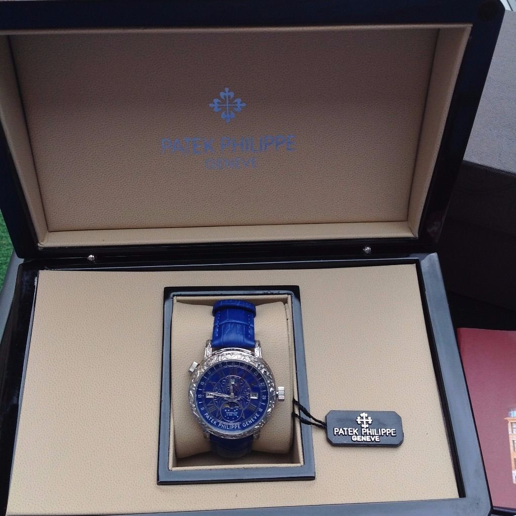 New Bagged boxed Patek Philippe stars and moon mens double sided two clock watch face blue leather