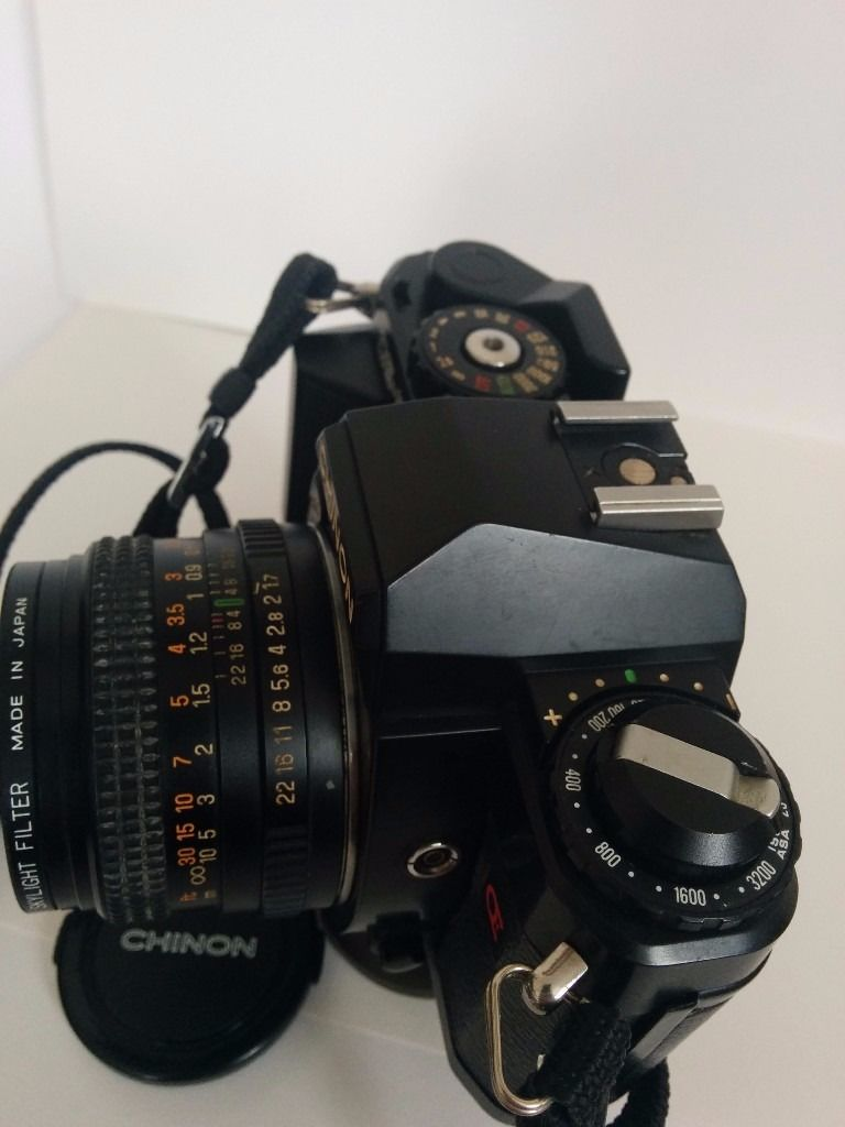 Chinon CE-5 35mm SLR w/ AUTO Chinon 50mm 1.7 lens & strap