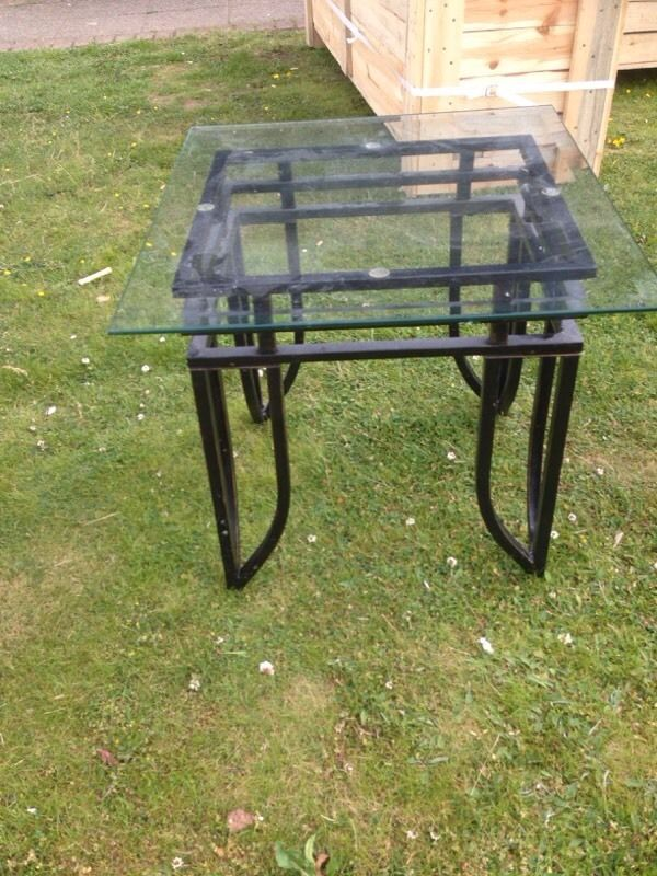 Metal and glass square lamp table