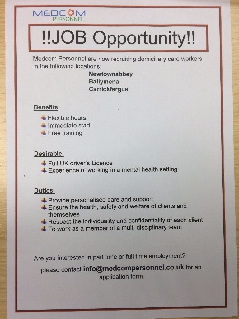 Care Assistants Needed