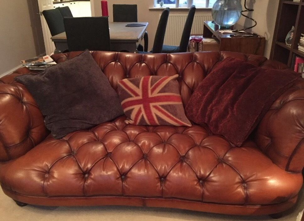 Dfs Tetrad Oskar / Liberty leather two seater sofas x 2.