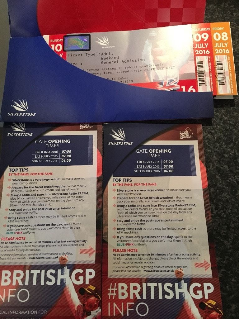 British F1 Grand Prix Ticket 2016 Silverstone 8th, 9th and 10th of July