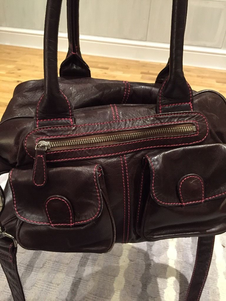 Lin and Leo brown leather changing bag