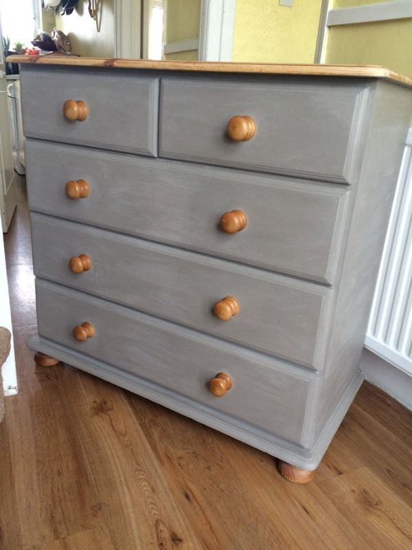 Annie Sloan Painted Solid Pine Chest of Drawers (Free Delivery)