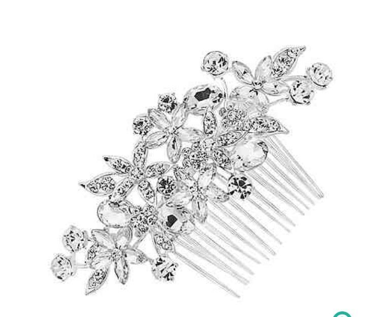 Bridal mixed crystal flower hair comb