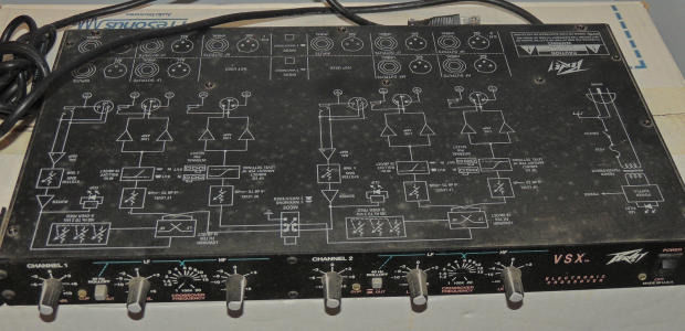 Behringer DSP1100 Feedback Destroyer plus Peavey VSX electronic stereo crossover,swap for hifi amp
