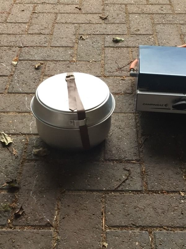 Campingaz stove with cook set and gas bottle