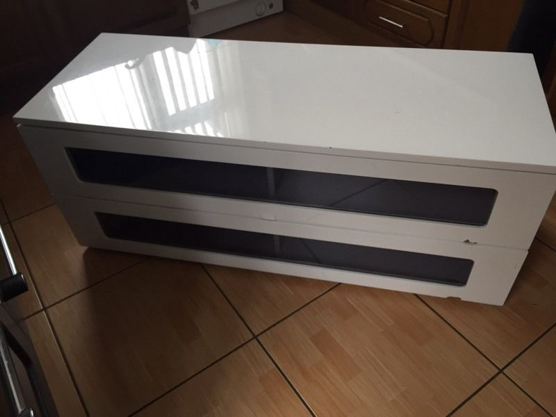 Tv stand unit white and black gloss