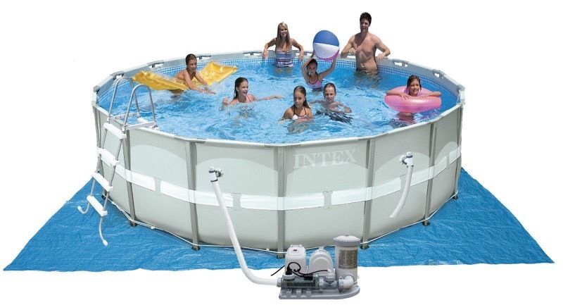 INTEX 16ft x 48in ULTRA FRAME SWIMMING POOL + PUMP, LADDER, COVER, GROUND CLOTH, SALTWATER SYSTEM