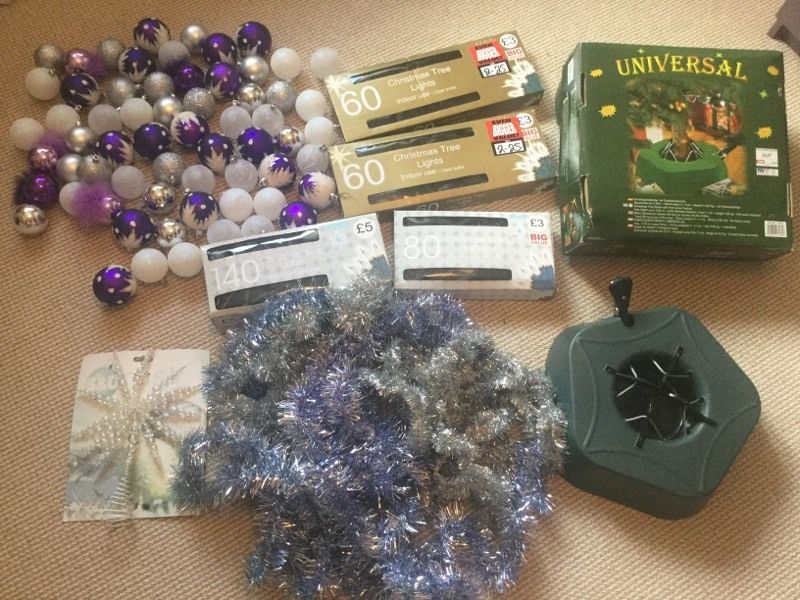 Christmas Tree Decorations - Baubles, Tinsel, Lights, Star & Tree Stand