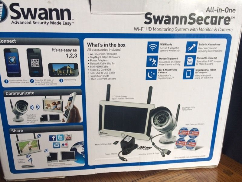 SWANN NVW-470 WiFi CCTV SECURITY CAMERA KIT NEW